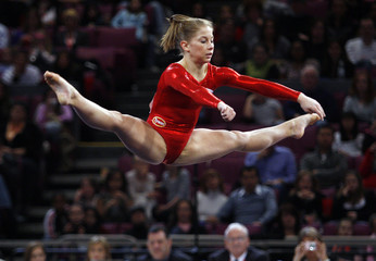 U.S. gymnast Shawn Johnson competes during floor exercise at Tyson American Cup competition in New York