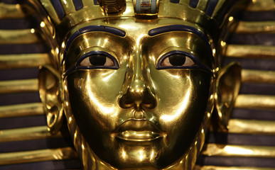 A model of Pharaoh Tutankhamen's mask is seen during the German premiere an exhibition in Munich