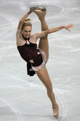 Belarus' Sheremet performs during the women's Short Programme of the European Figure Skating Championships in Warsaw
