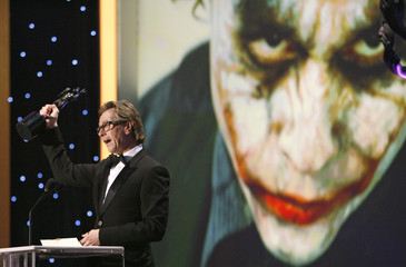 "Actor Oldman accepts award for Heath Ledger for ""The Dark Knight"" at the 15th annual Screen Actors Guild Awards in Los Angeles"