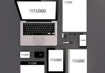 Devices and Stationery Set on Gray Background Mockup