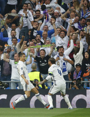 Real Madrid's Cristiano Ronaldo celebrates scoring their first goal