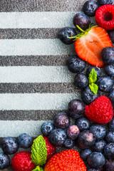 Variety of Fresh Berries such as Blueberries, Raspberries and Strawberries