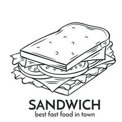 Hand drawn sandwich icon.