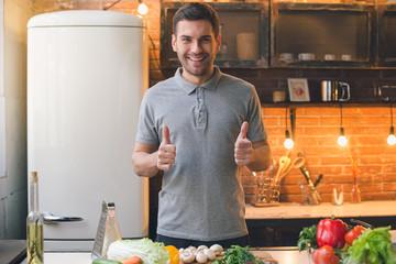 Young Man Vegan Healthy Food Meal Preparation