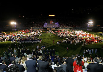 Athletes cheer during the opening ceremony of the XII European Maccabi Games in Rome