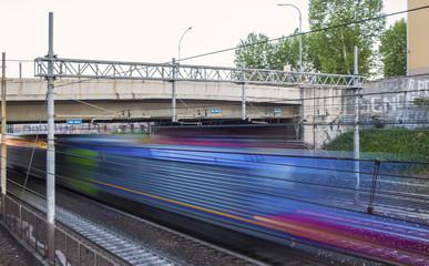 Train passing in dicection to Termini near Pigneto street in Rome