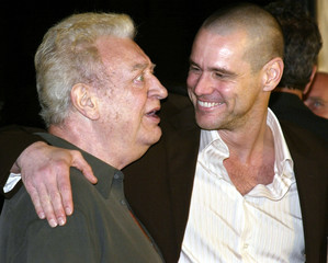 file photo of actor Jim carrey and comedian Rodney Dangerfield at premiere.