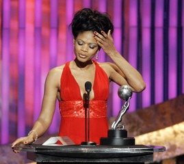 Elise accepts the Image Award for outstanding actress in a motion picture at the annual NAACP Image Awards in Los Angeles