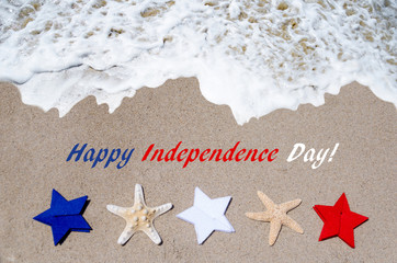 Independence Day USA background with starfishes and stars