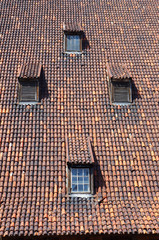 Medieval roof with dormers in Gdansk, Poland.
