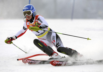 Zettel of Austria passes a pole during the women's alpine skiing World Cup slalom race in Maribor
