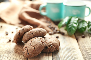 Delicious coffee cookies on kitchen table