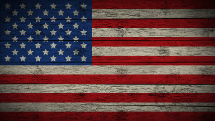 Flag of USA Painted on old wood boards. wooden USA flag. Abstract flag background for your text or logo. grunge United states of america flag.