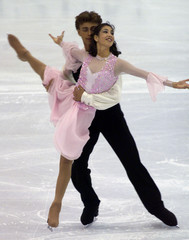 NAOMI LANG AND PETER TCHERNYSHEV PERFORM DURING THE FIRST COMPULSORY ICE DANCING PROGRAM AT WORLD ...