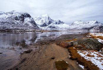Mountain lake. Spring in the Lofoten Islands.