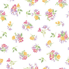 Floral seamless pattern. Flower bouquet garden ornamental background.