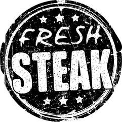 Fresh steak grunge style black rubber stamp.