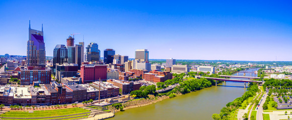 Nashville Tennessee skyline with drone