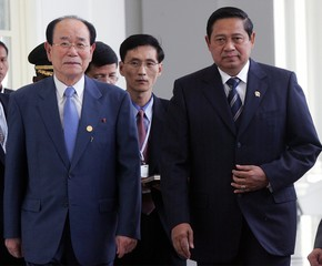 North Korean President of Parliament Kim Yong-nam is accompanied by Indonesian President ...