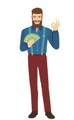 Hipster with cash money showing a okay hand sign