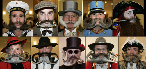 Combination picture of participants at the World Beard and Moustaches championships in Berlin