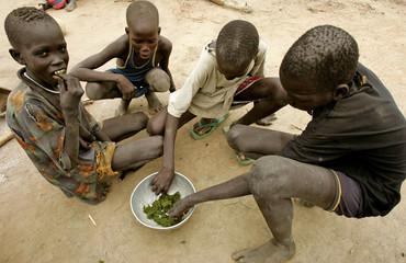 Starving children resort to eating leaves in south Sudan.