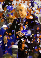 MCCAIN AT END OF RALLY IN SANTA CLARA WITH CONFETTI.