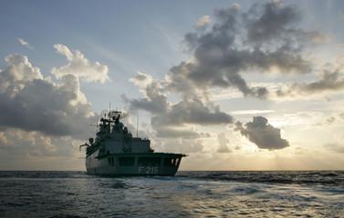 Deutsche Marine German Navy frigate Brandenburg is seen during UNIFIL mission off the coast of Lebanon