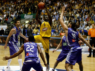 Maccabi Elite Tel-Aviv's Bynum goes to the basket during their Euroleague Top 16 Group F basketball game in Tel Aviv