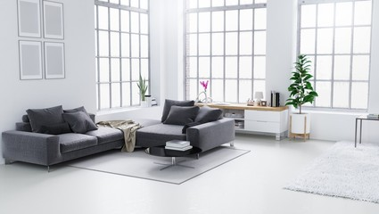 White modern living room, Scandinavian interior design