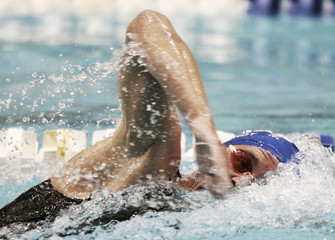 Erik Vendt competes in the men's 1500m freestyle swim at the U.S. Swimming National Championships in Indianapolis