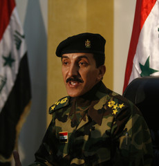Iraqi military spokesman overseeing the Baghdad security plan speaks during news conference in Baghdad