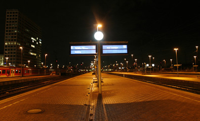 An empty platform is seen at the railways station of Dortmund