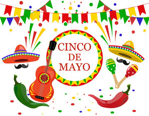 Cinco de Mayo inscription in the center. Sombrero, guitar, confetti, flags, maracas green and red peppers. illustration