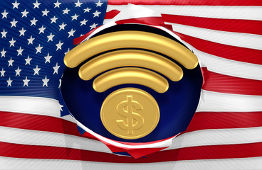 Wifi Symbol With A Dollar Coin Concept 3D Illustration