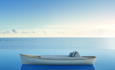 Sofa bed on rowboat with sea view swimming pool in luxury beach hotel - 3d rendering