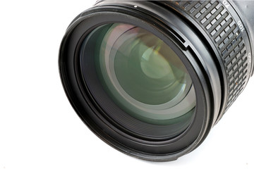 close up on camera lens isolated on white background
