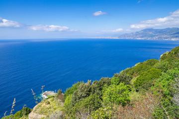 Spoed Foto op Canvas Liguria Bay of Genova seen from Tigullio promontory, Liguria, Italy