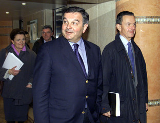 Michel Mercier (C), UDF candidat UDF for Mayor of Lyon, with aides  Jean-Michel Dubernard (L) and Ch..