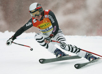 Hilde Gerg from Germany races to a fourth place finish in Lake Louise Super G.