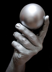 Silver hand and sphere