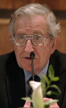 Academic and linguist Noam Chomsky speaks at the assembly hall of the American University of Beirut