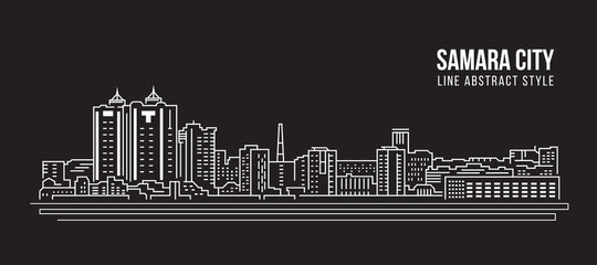 Cityscape Building Line art Vector Illustration design - Samara city