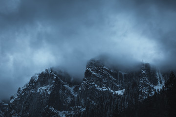View of mountain covered with cloudy sky