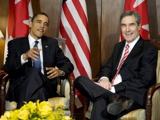 U.S. President Barack Obama meets with Canadian Liberal leader Michael Ignatieff before departing Ottawa for Washington