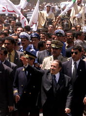 ALGERIAN PRESIDENT ABDELAZIZ BOUTEFLIKA WAVES DURING VISIT TO BISKRA IN ALGERIA.