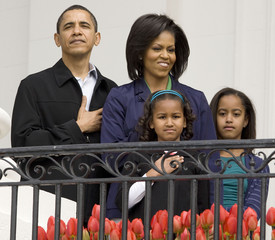 U.S. President Barack Obama and first family during 2009 White House Easter Egg Roll at the White House