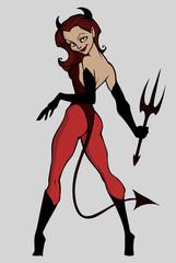 Halloween illustration od a woman wearing devil costume