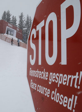 A stop sign is seen in front of the starting gate in Ktzbuehel after the first practice for the Alpine Skiing World Cup downhill race on Streif slope in Kitzbuehel was cancelled due to heavy snowfall